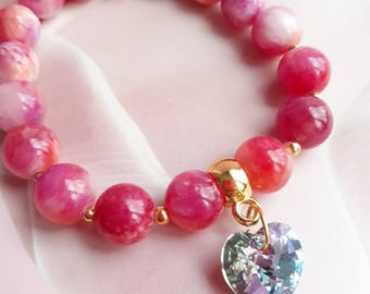 Pink Nephrite with Swarovski crystal heart