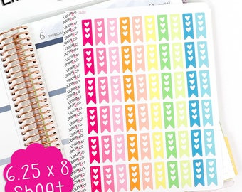 LS238 Summer Mini Heart Checklist Half Boxes.  Set of 50. Perfect for the Erin Condren Life Planner!!!