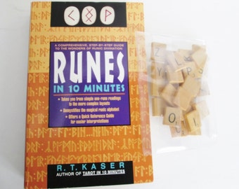 Runes in 10 minutes by Robert Kaser, Rune Scrabble Tiles, 403 pages 1995, soft cover book, runic divinations readings, love, career Avon