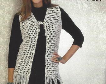 Womens crochet waistcoat pdf pattern fringed crocheted vest crochet retro fringe vest pattern womens boho vest crochet pattern crochet duster pattern digital download pdf dt1010fo