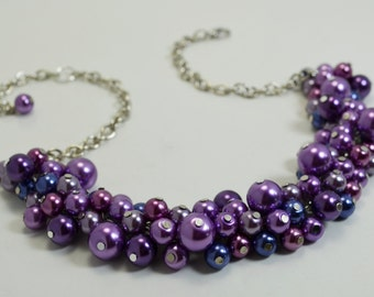 Pearl Necklace in Purple & Navy,  Pearl Cluster Necklace, Amethyst and Navy Chunky Necklace, Purple Bridesmaid Jewelry, Purple Theme Wedding