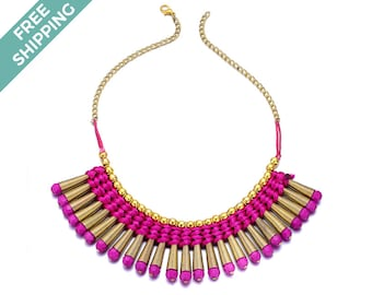 Hot Pink & Gold Costume Jewelry Necklace
