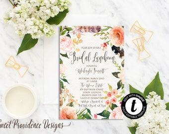 Bridal Luncheon Invitation, Printable Bridal Luncheon Invite, Floral Bridal Shower Invitation, Watercolor Luncheon Floral Invite, EDITABLE