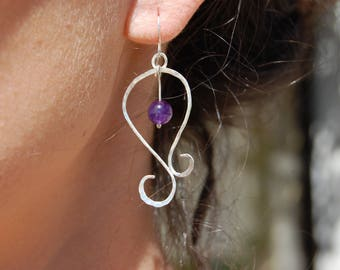 Earrings in Sterling Silver spirals with Pearl