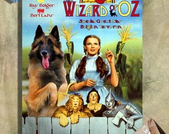 Belgian Tervuren Dog Art Portrait Poster Canvas Print, Tervuren Postcards, Tervuren Vinyl Sticker - The Wizard of Oz Movie Poster