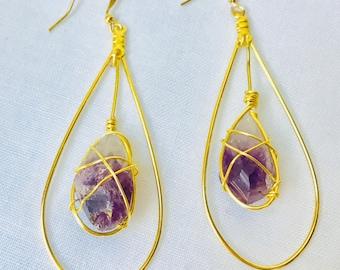 Amethyst Goddess earring pair