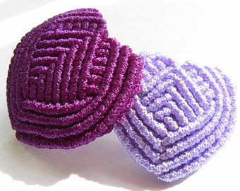 Double Heart Barrette, by Chinese Knot - Purple, Green or Red