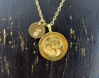 Om symbol necklace, personalized OM necklace, gold vermeil om symbol, yoga necklace,  yoga necklace, om necklace, gold filled chain