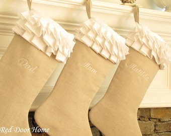 Personalized Linen Christmas Stocking Embroidered White Ruffle Monogram Girl
