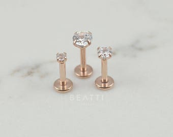 gold white basket zirconia round accent solitaire double set cubic back screw stud earrings screwback