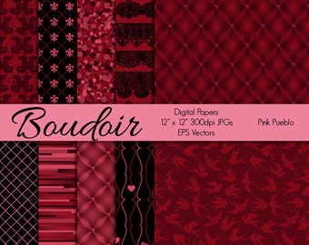 Boudoir Digital Papers, Scrapbook Papers or Backgrounds, Valentine's Day Papers - Commercial and Personal Use