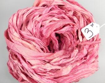 Sari silk ribbon, Recycled Silk Sari Ribbon, Silk Sari ribbon, Pink sari ribbon, weaving supply, knitting supply, wrapping ribbon