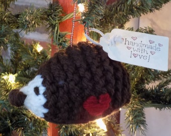 Fiber Art - Ornament - Woodland Christmas  Tree Ornament - Hand Knit - Hedgehog - Dark Taupe, Wine, Natural - Knit Art - Bulky Knit Ornament