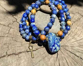 LAPIS LAZULI & JASPER Mala for Meditation   Yoga Beads   108 Mala Beads   Crystal Healing Mala   Ankh Necklace by Mayan Rose MayanRose