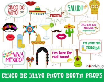Cinco de Mayo Photo booth props. Printable Fiesta photo props. Cinco de Mayo selfie station. Fiesta Mexicana props for pictures. PDF file