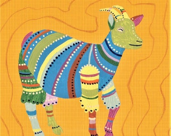Original Goat Illustration 01 – Fine Art Painting, Animal Drawing, Folk Art, Colorful Pattern, Acrylic, Square Yellow Paper, Unique Gift