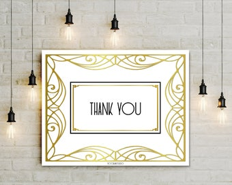 Thank You Printable Party Decor, digital Thank you table sign for Wedding reception Graduation ceremony, white gold art deco sign, jpg pdf