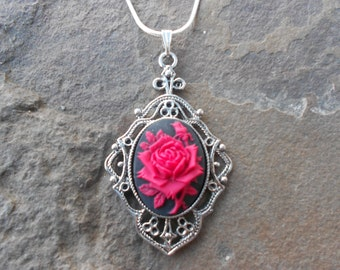 Stunning Red Rose on Black Cameo Pendant Necklace - Valentine's Day - Great Quality