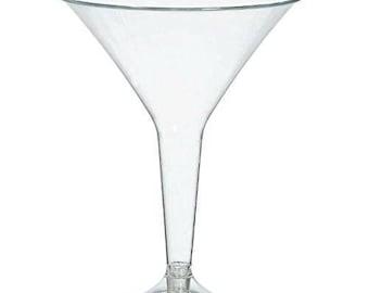 Case Of 40 Clear 8 Ounce Plastic Disposable Martini Glasses - Bulk Glasses - Event Drinkware