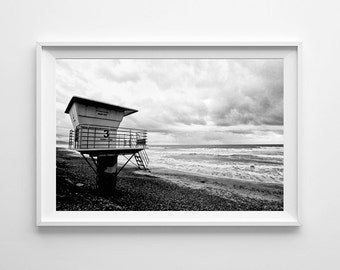 San Diego Torrey Pines Beach Lifeguard Tower - Black and White Film Photography, Surf Art, California Beach Decor - Oversized Art Available