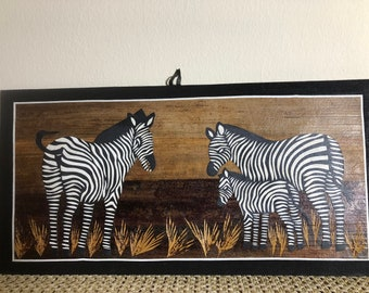 African hand carved wall decoration item zebra