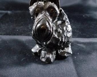 "Vintage Concrete Scottie Dog Scotty Figurine Glass Eyes 3.5"" Inches Tall"