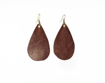 Leather Raindrop Earrings - Medium - Brown