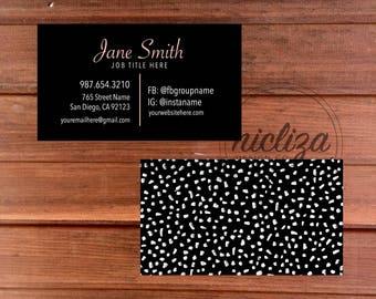 Custom Business Card, Black Business Card, Modern Business Card, Polka Dot Business Card, Black Business Card, Black and Pink Business Card