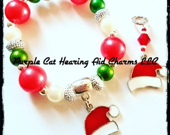 Bracelet and Sets:  Christmas Beaded Bracelet with Santa Hat Charm!  Matching Hearing Aid Charms available at a discounted bundle price!