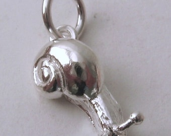 Genuine SOLID 925 STERLING SILVER 3D Animal Snail charm/pendant