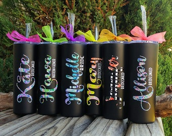 Set of 9 Skinny Tumbler-Personalized Name/20oz Stainless Steel Vacuum Sealed-Bridesmaid gift,Wedding/Bachelorette Party,Girl trip,Coffee cup