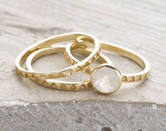 Handmade, Sterling Silver 925 9ct Gold Plate Moonstone and Handstamped Stacking Rings (Set of 3)