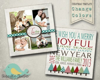 Christmas Card PHOTOSHOP TEMPLATE - Family Christmas Card 91