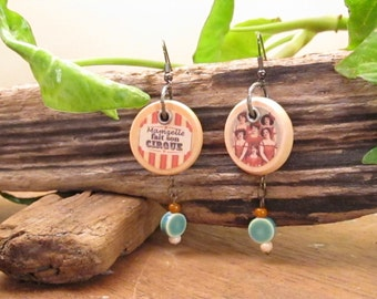 Bohemian boho circus earrings in wood with a Mamzelle fait du cirque