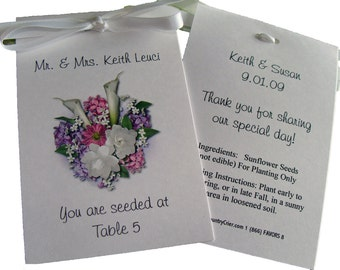 Floral Design w/ Wildflower Seeds. Place Cards Printed with Guest Names..You are Seeded at ....Wedding Seeds Party Favors SALE