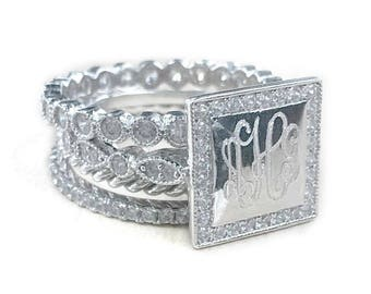 Monogrammed Ring,Sterling Silver Stackable Ring, CZ Ring, Silver