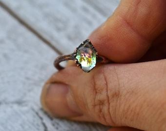 Mermaid Ring, Herkimer Diamond Ring, Fire Opal Ring, Raw Quartz Ring,  Bohemian Ring, Celestial Jewellery, Celestial Ring
