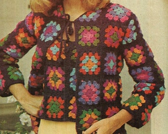 Crochet TOP Pattern Vintage 70s Granny Square Cardigan Pattern Granny Tank Top Pattern Granny Crochet Sweater Pattern