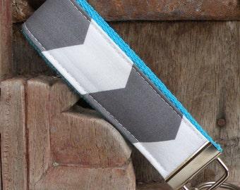 Wrist Key Chain--Wristlet--Key Chain- Gray Chevron on Turq