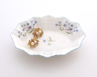 Shelley Blue Rock | Trinket Dish | Shelley China | Ring Dish | Fine Bone China | Flower Dish | Jewelry Dish | Ring Holder | Shelley Dish