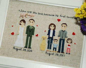 Cross stitch family portrait 4th Wedding Anniversary Fourth Anniversary Gift 4th anniversary 4 Year Anniversary Linen Silk Anniversary Gift