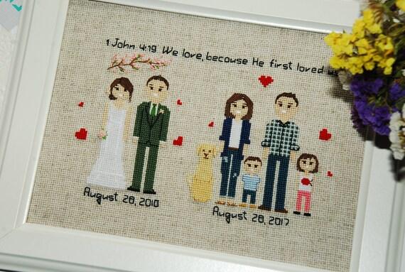 Cross stitch family portrait 4th Wedding Anniversary Fourth