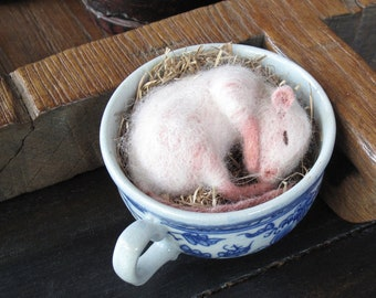 Needle Felted Baby Mouse or Rat Sleeping in a Vintage Stoneware Tea Cup