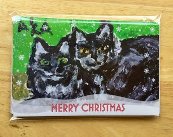 Have a Merry Christmas with these two adorable kittens on five 5x7 greeting cards!