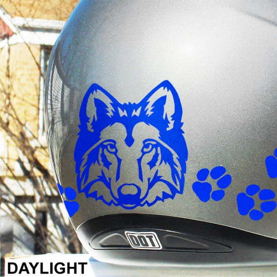 Wolf Head Reflective Decal Set Wolf Helmet Stickers Wolf - Custom motorcycle helmet stickers and decalsbicycle helmet decals new ideas for you in bikes and cycle
