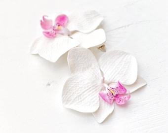 White Orchid Earrings, Orchid Jewelry, Orchid Flower, White Flower Earrings, Orchid Wedding,  Jewelry, Orchid, White Earring, Earrings White
