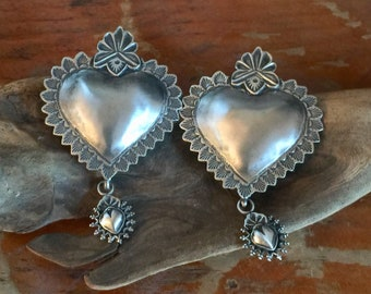 EBH8 The Santa Fe Heart repousse over the Taos Heart sterling silver southwestern native style earrings