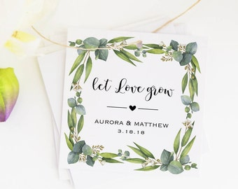 Greenery Favor Tags, Wedding Gift Tags, Let Love Grow Tags, Eucalyptus, Custom Wedding Tags, Name Favor Tags