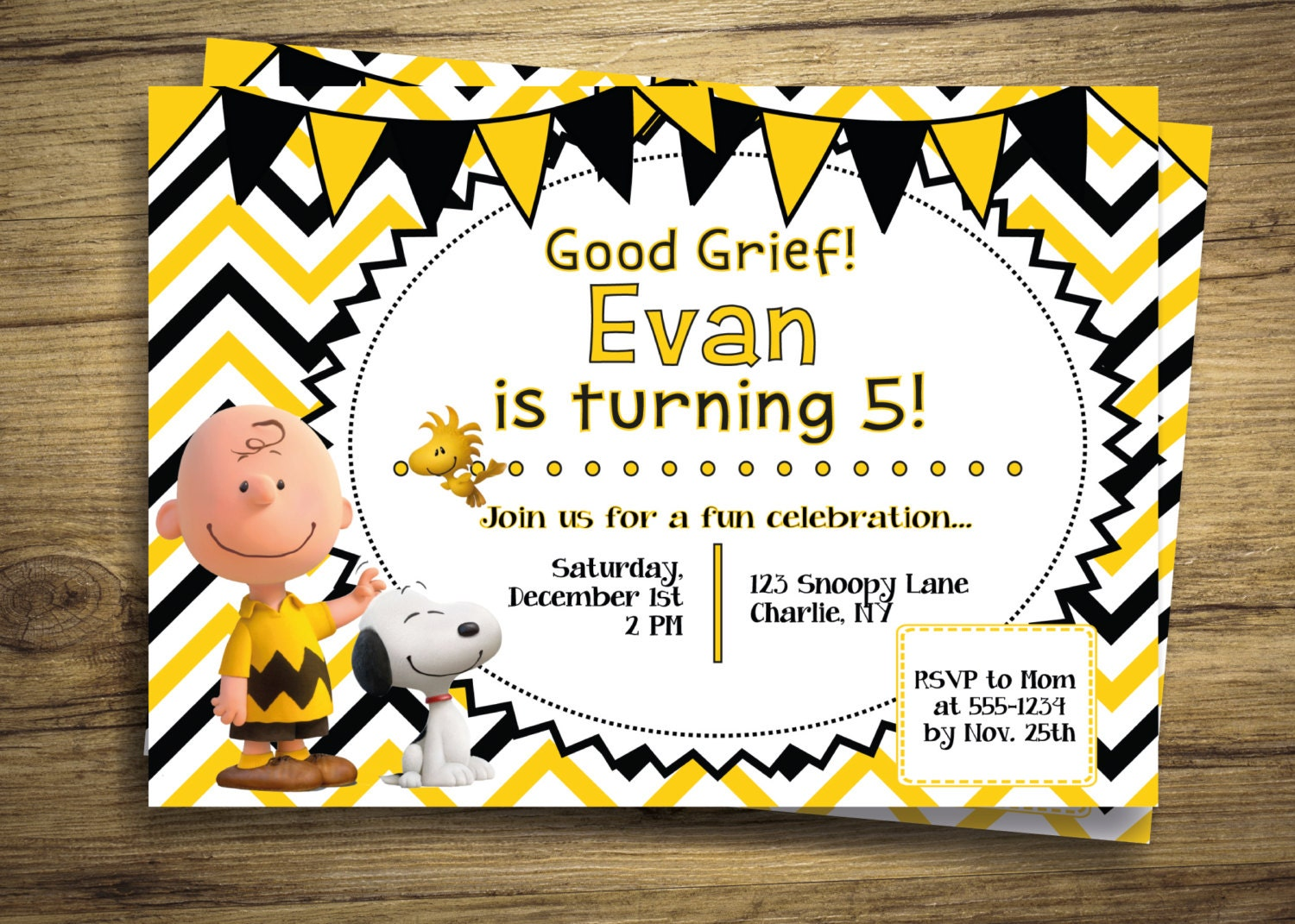 Charlie brown snoopy birthday party invitation peanuts zoom monicamarmolfo Image collections