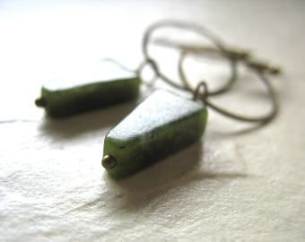 Jasper Earrings, Green Jasper Hoop Dangle Drop Earrings, Handmade Artisan Stone Hoop Earrings, Stone Earrings, Made in the USA